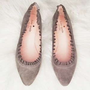 Kate Spade NWB | Gray Suede Scalloped Ballet Flats